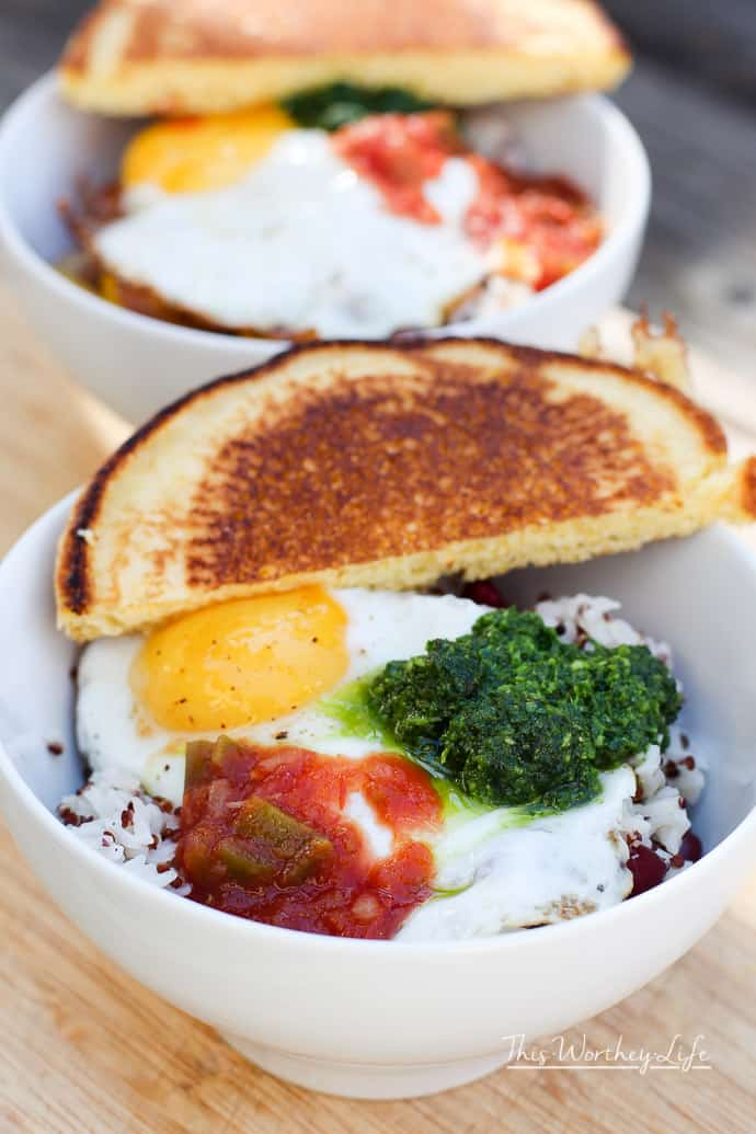Warm up with this comfort food. Our Southern Breakfast bowl is filled with Jasmine rice, red beans, quinoa, fried egg, chimichurri sauce, and salsa, along with a side of hoecakes. Try our easy breakfast recipe- Red Beans + Rice Southern Breakfast bowl.