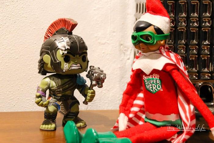 Simple Elf on the Shelf Ideas- elf the Superhero