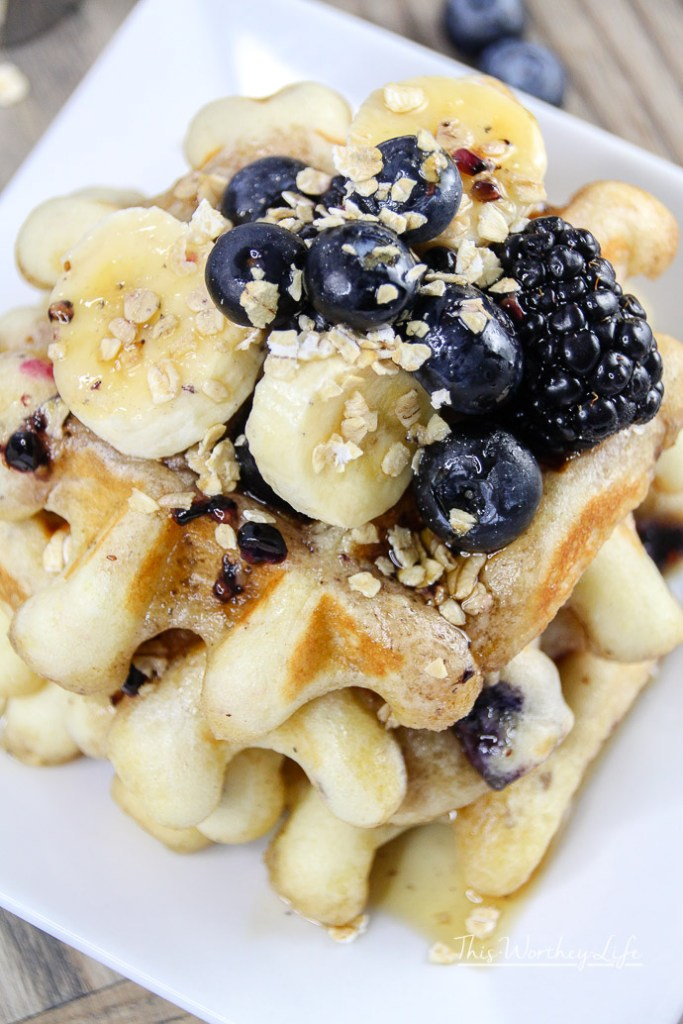 Saturday morning is a great time to whip up a batch of homemade waffles. I'm sharing how I  sneak in some healthy ingredients into the boys' waffles with our Blueberry Chia + Oatmeal Waffles recipe.