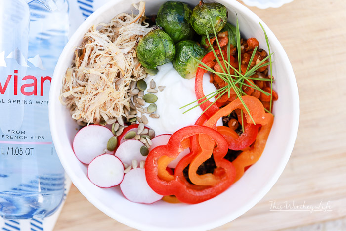 How to make a Savory Yogurt Bowl with Quinoa + Shredded Chicken