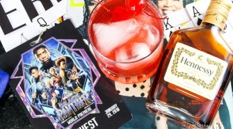 Hey Auntie Black Panther Cocktail with Hennessy + Red Velvet Cake