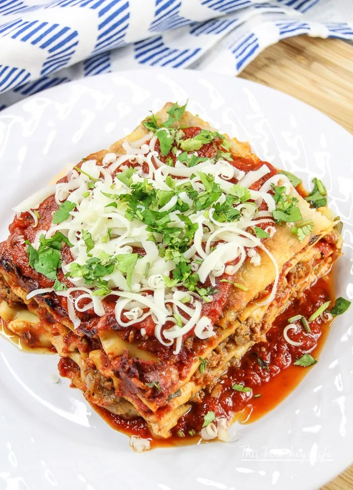 Beef + Italian Sausage Lasagna With Caramelized Onions