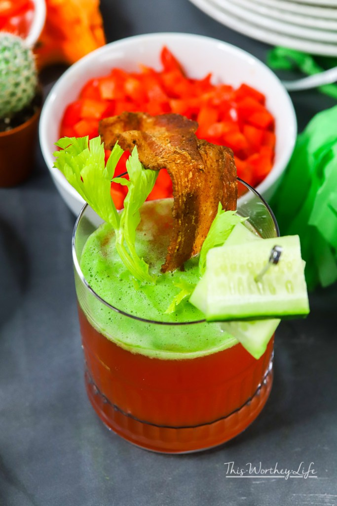 Clamato recipe ideas- How to make a Clamato Bourbon + Tomatilla Foam with Bacon
