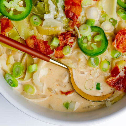 bowl of creamy cabbage soup