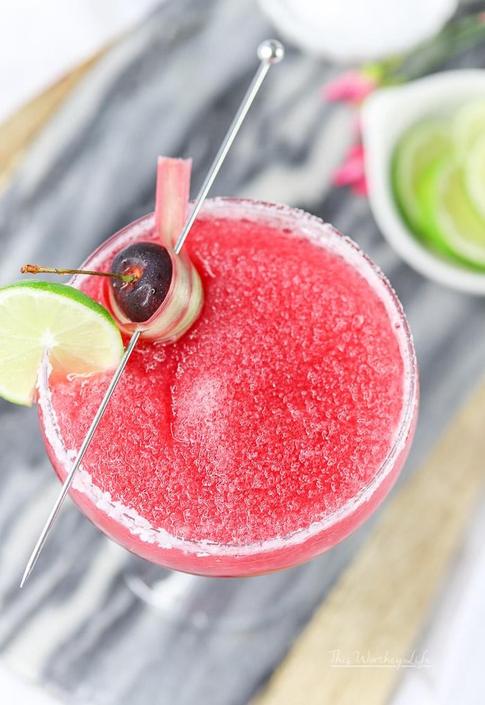 Cocktail using bourbon, taste of Michigan cherries and backyard garden rhubarb