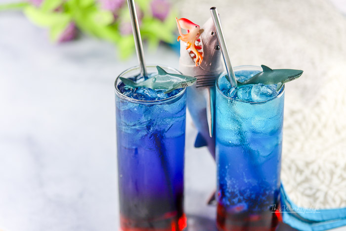 It's Shark Week! If you're looking for a fun, shark-themeddrink to try, this blood in the water mocktail is great for everyone!