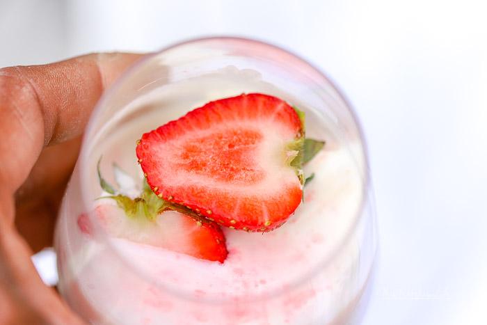 Summer Drink Made With Malibu- White Chocolate Strawberry Ice Cream Float