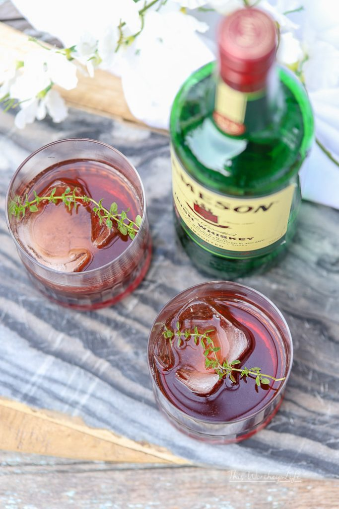 Summer Drink Made With Jameson Whiskey- Tart Cherry Ginger Ale