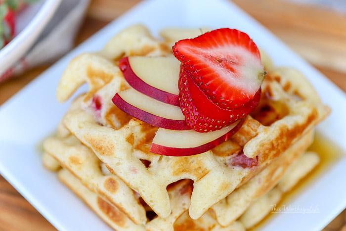 Easy Waffle Recipe | Strawberry + White Peach Waffles