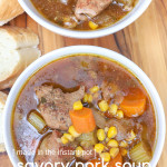 Get comfortable with this Savory Pork Soup made in the pressure cooker. A soup recipe made within 30 minutes, with marinated pork and fresh veggies.