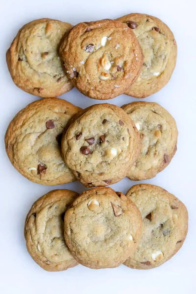 It's the most wonderful time of the year. Time for all the delicious baked goodies, and our brown butter white & chocolate chip + toffee cookies are just what you need this holiday baking season. These delicious chocolate chip cookies have toffee bits, brown sugar, and a ton of other goodies to pack a powerful sweet punch.