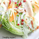 With a ton of healthy chicken recipes floating around, here's a way to create a chicken wedge salad loaded with fresh veggies and creamy avocado. You haven't tried a wedge salad until you've tried our loaded rotisserie chicken wedge salad. Grab this chicken recipe on the blog!