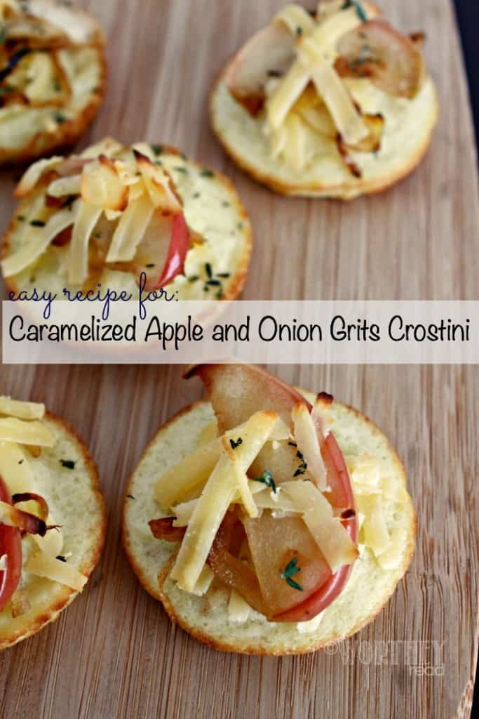 Caramelized Apple and Onion Grits Crostini