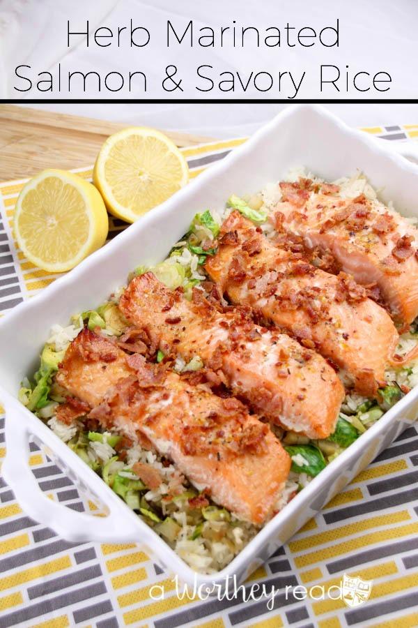 Herb Marinated Salmon & Savory Rice