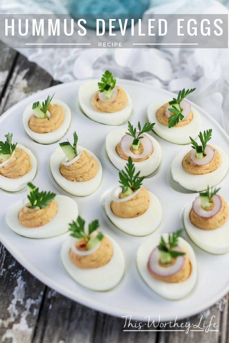 Hummus Deviled Eggs + Red Velvet Cocktail