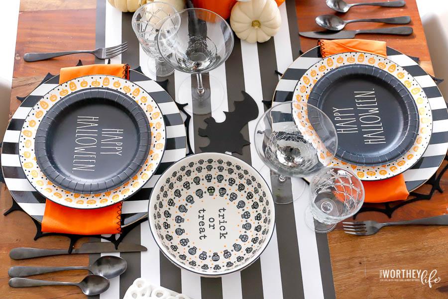 Black + White Halloween plates