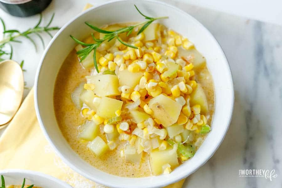 vegan chowder recipe in a white bowl