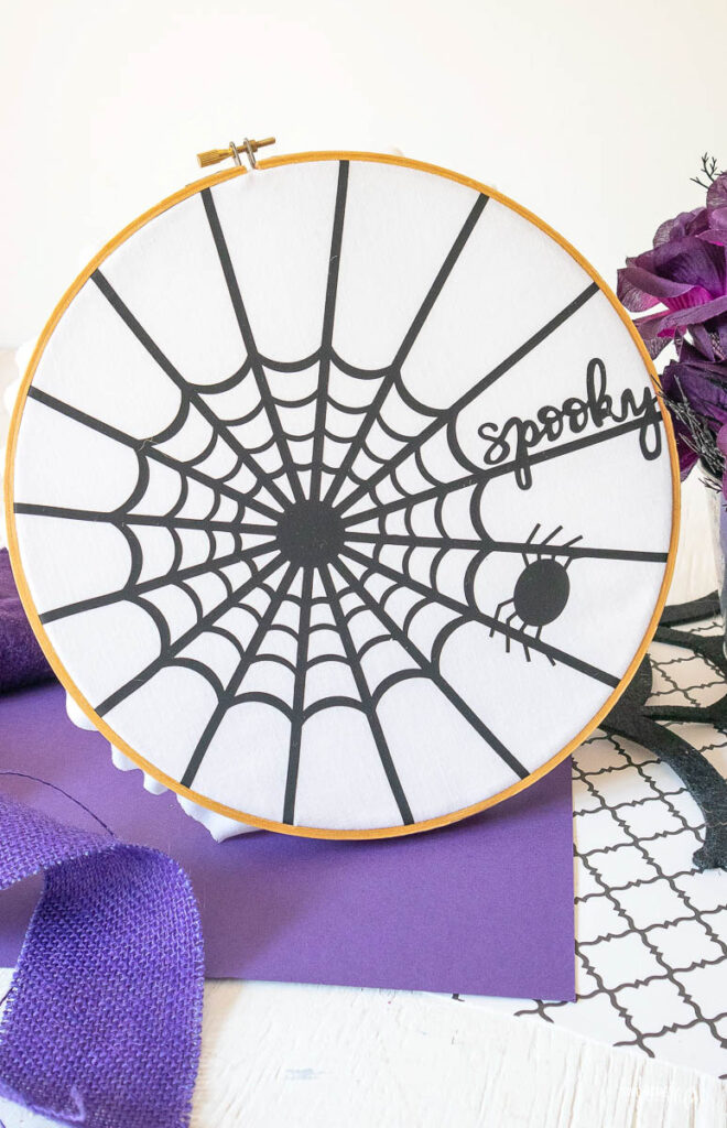 How to display this Iron-On Spider Web Hoop Art with Cricut With FREE SVG