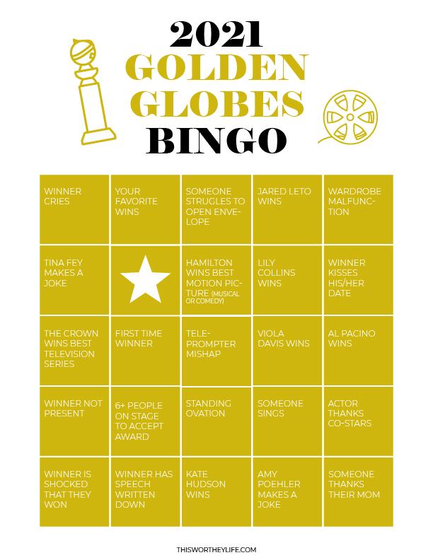 free golden globes printables