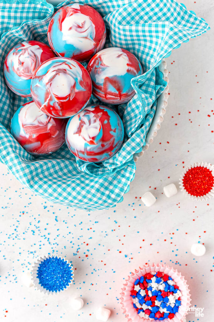 4th of july hot cocoa bombs on white background