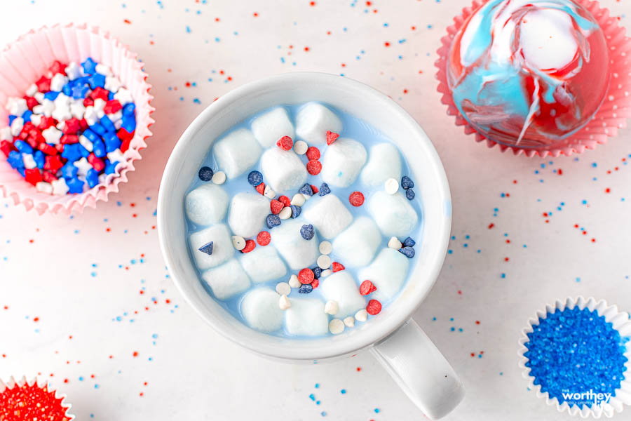 a cup of red white and blue hot chocolate