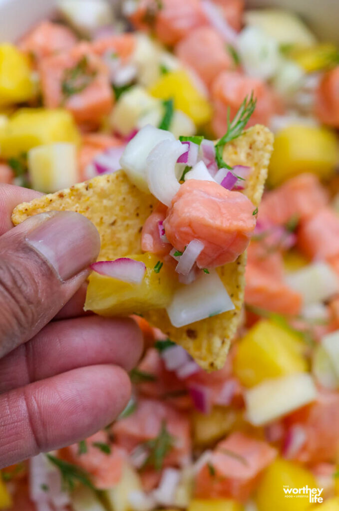Corn tortilla chip loaded with a scoop of ceviche with salmon