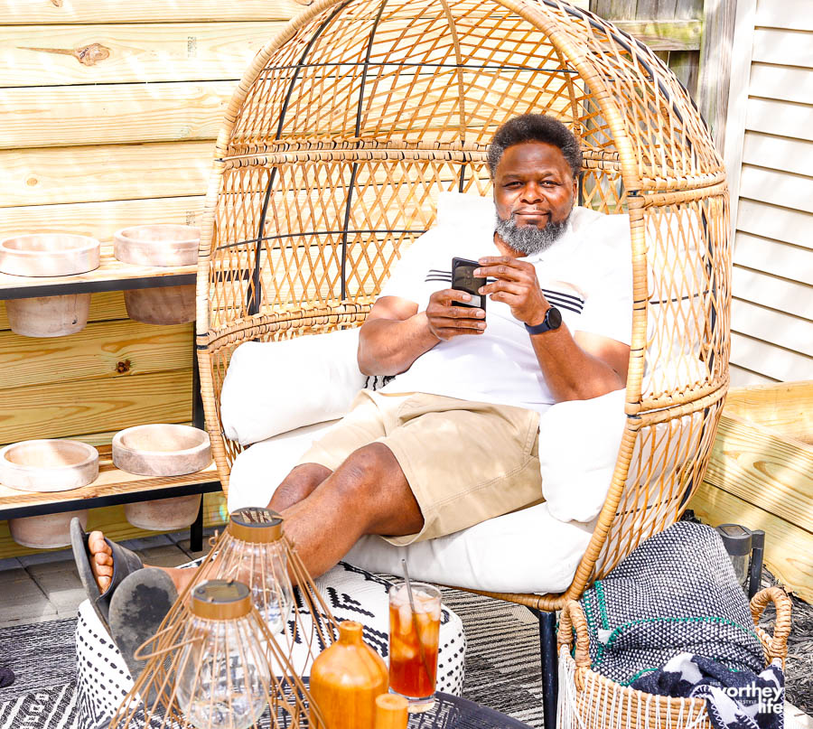 a man relaxing in a chair