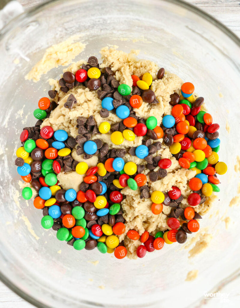 cookie dough in a glass bowl