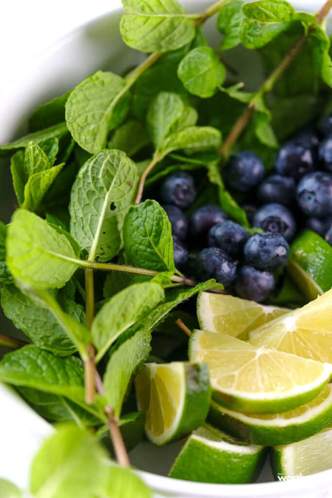 fresh mint and blueberries