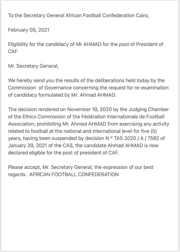 """أحمد أحمد يتلقى الضوء الأخضر من الـ""""كاف"""" للترشح لعهدة ثانية"""