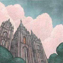 Digital Illustration of the LDS Salt Lake Temple in Utah
