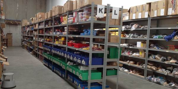 Steel shelving storage for small items in warehouse