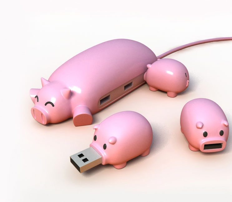 Cute and charming PIG BUDDY (USB HUB)
