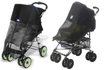 två barnvagnar med varsitt unikt solskydd som är förvånansvärt lika