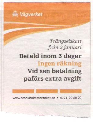 Annons om Stockholmsförsöket
