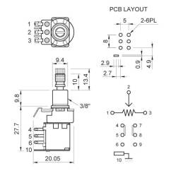 Wiring Diagram For Double Switch Motor 12 Lead Guitar Potentiometer (push/push) [alpha_push] - £5.75