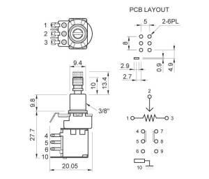 Guitar Potentiometer (PUSHPUSH) [ALPHA_PUSH]  £575