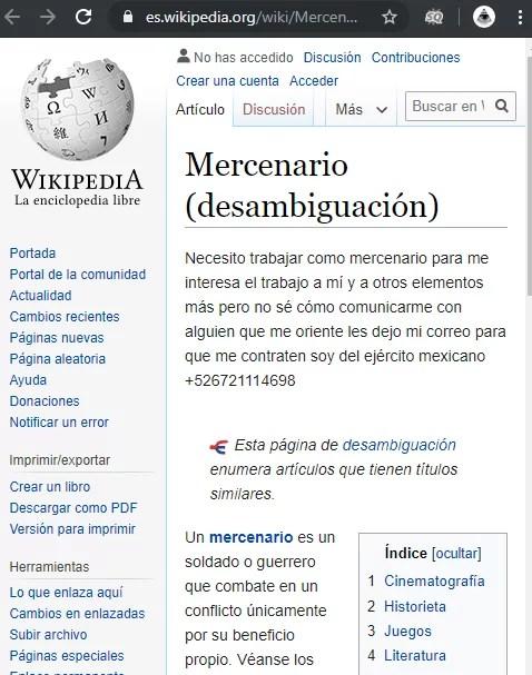 militar mexicano busca empleo como mercenario en Wikipedia e1566708741707