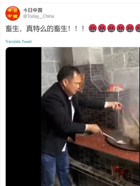 """Video de maltrato animal en donde aparece una persona de rasgos asiáticos: en las redes sociales se ha dicho que """"es chino y que es parte de su cultura comer perros"""""""