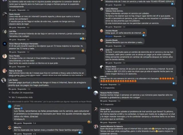 Comentarios realizados en la página de Telmex en Facebook