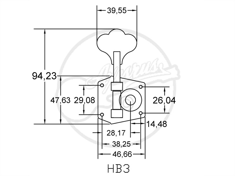 1 x Hipshot HB-3 Bass Machine Head