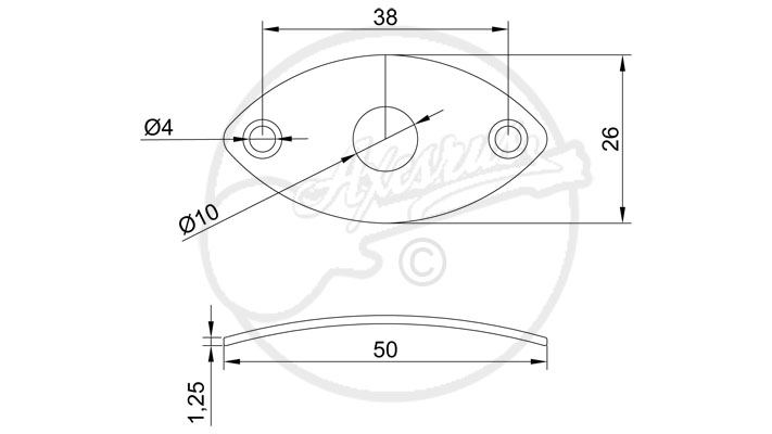 Curved Metal Rugby Ball Jack Plate