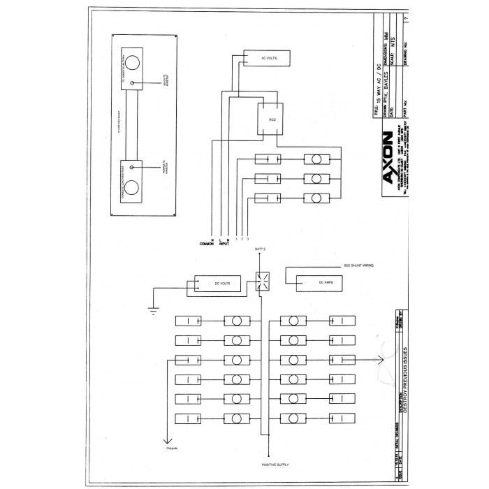 15 way AC/DC panel with digital volt and ammeter and RCDO