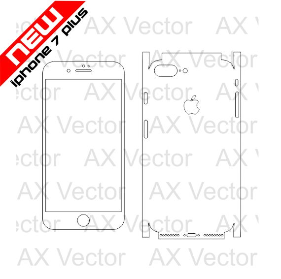 iPhone 7 Plus Vector Template, Accurate Contour Cut for