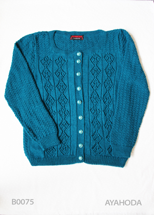 Women's Blue Knit Cardigan Sweater B0075 Ayahoda