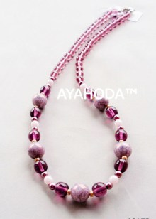 Purple Ayahoda designed women jewelry glass beaded necklace