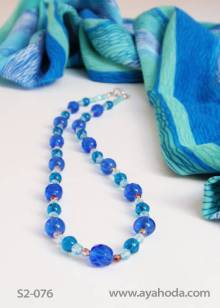 Image of Turqoise Czech Real Glass Bead Necklace & Shawl Set S2-076