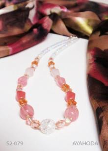 Image of Light Pink Czech Glass Beaded Necklace & Shawl Set S2-079