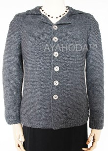 Women's Warm English Tweed Hand Knit Cardigan B0098 AYAHODA