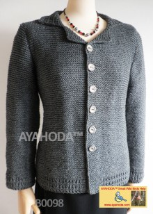 Women sweater cardigan grey English Ayahoda Handmade design business knitwear